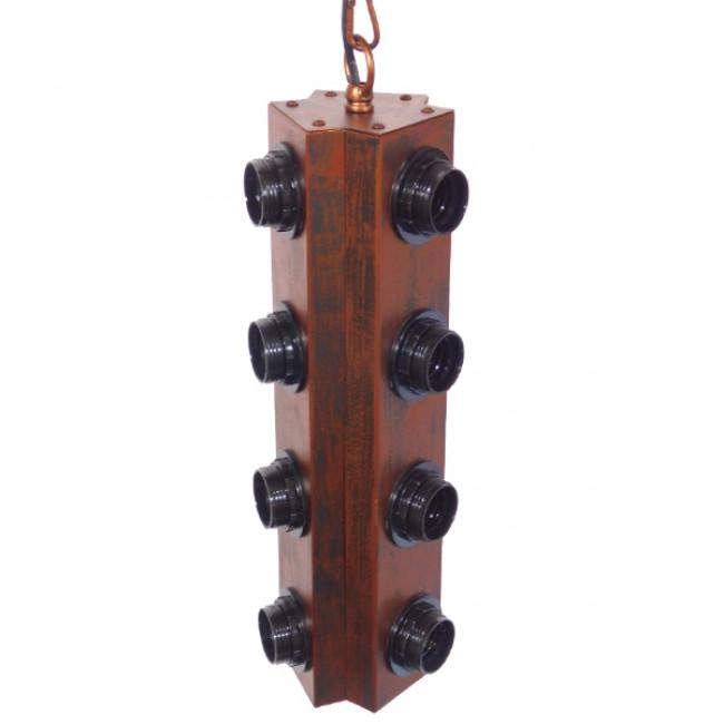 Vintage Industrial Κρεμαστό Φωτιστικό Οροφής Πολύφωτο Καφέ Σκουριά Μεταλλικό Φ14 GloboStar MORGAN 01102 - 3