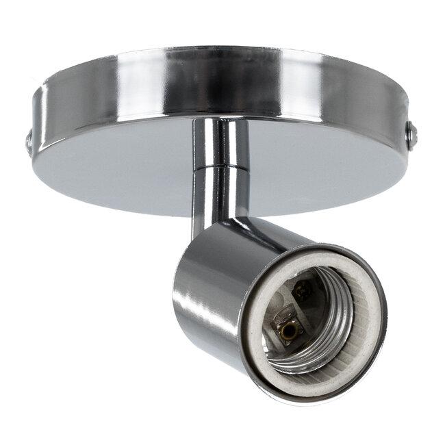 SARA 00844 Μοντέρνο Φωτιστικό Οροφής / Τοίχου Μονόφωτο 1xE27 Μεταλλικό Ασημί Νίκελ Φ10 x Υ10.3cm - 2