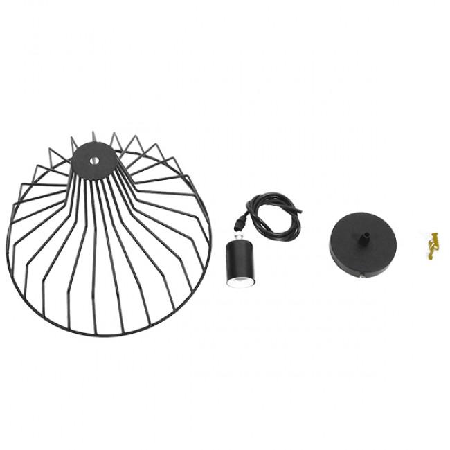 Vintage Industrial Κρεμαστό Φωτιστικό Οροφής Μονόφωτο Μαύρο Μεταλλικό Πλέγμα Καμπάνα Φ30 GloboStar TERE 01165 - 9