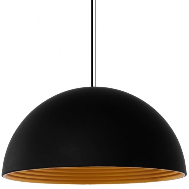 Μοντέρνο Κρεμαστό Φωτιστικό Οροφής Μονόφωτο Μαύρο Χρυσό Μεταλλικό Καμπάνα Φ60 GloboStar MEDEA 01344 - 5