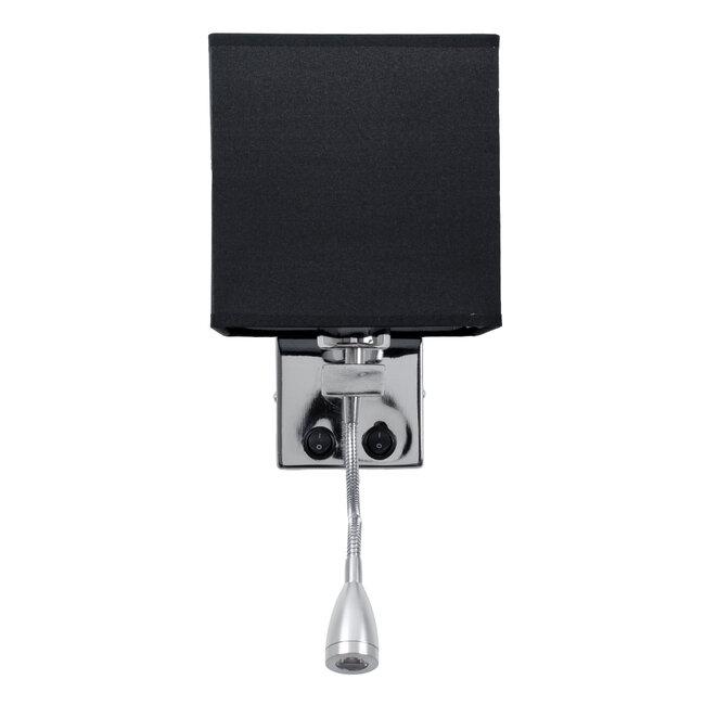 ELEGANT 01494 Μοντέρνο Φωτιστικό Τοίχου Απλίκα Δίφωτο Μεταλλικό με Μαύρο Ύφασμα και Βραχίονα με LED Μ17 x Π21 x Υ43cm - 5