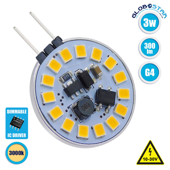 GloboStar® 76106 Λάμπα G4 LED SMD 2835 3W 300lm 120° DC 12-24V Side Pin Θερμό Λευκό 3000K Dimmable