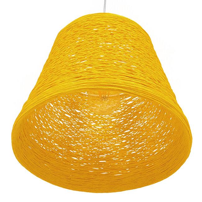 Vintage Κρεμαστό Φωτιστικό Οροφής Μονόφωτο Κίτρινο Ξύλινο Ψάθινο Rattan Φ32  ARGENT YELLOW 00998 - 5