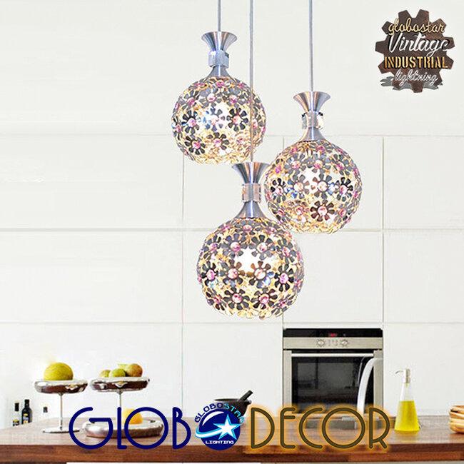 Μοντέρνο Κρεμαστό Φωτιστικό Οροφής Τρίφωτο Ασημί Μεταλλικό με Κρύσταλλα Φ50  BOUQUET 01248 - 4