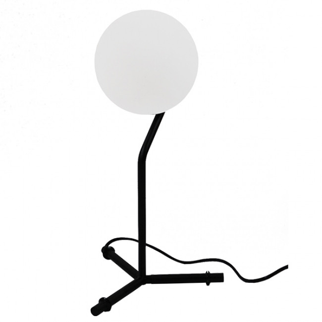 Μοντέρνο Επιτραπέζιο Φωτιστικό Πορτατίφ Μονόφωτο Μαύρο Μεταλλικό με Λευκό Γυαλί Φ23 GloboStar ELFRIS 01100 - 7