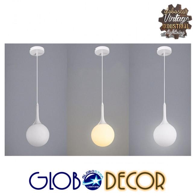 Μοντέρνο Κρεμαστό Φωτιστικό Οροφής Μονόφωτο Λευκό Γυάλινο Φ25  SPHERE 01143 - 8