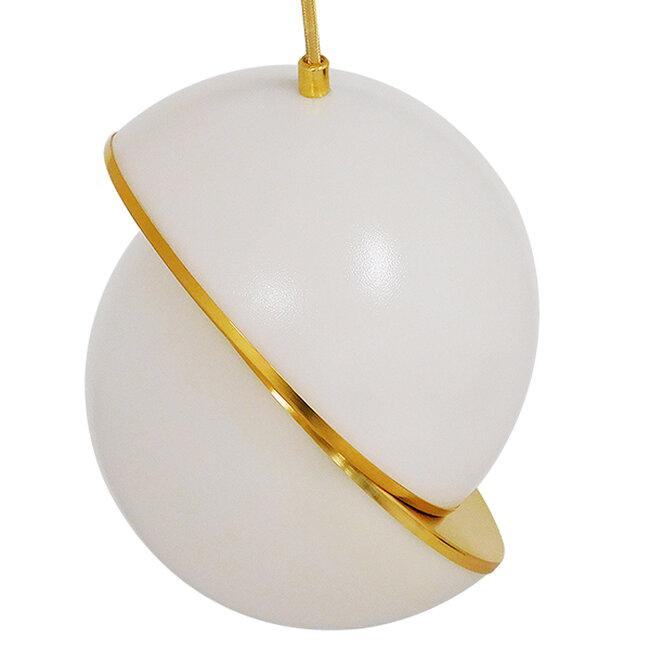 Μοντέρνο Κρεμαστό Φωτιστικό Οροφής Μονόφωτο Λευκό με Χρυσό Φ20  HUDSON 01554 - 5