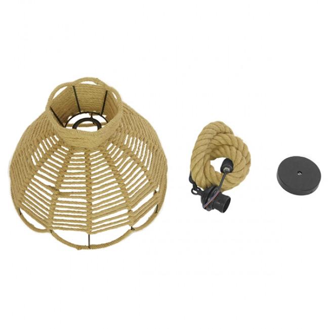 Vintage Κρεμαστό Φωτιστικό Οροφής Μονόφωτο Πλέγμα με Μπεζ Σχοινί Φ34 GloboStar VENIER 01610 - 10