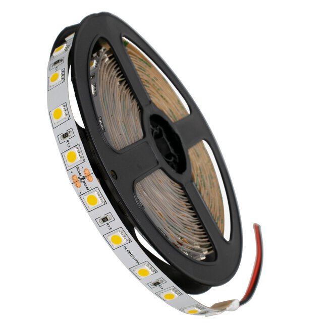 GloboStar® 70222 Ταινία LED SMD 5050 5m 14.4W/m 60LED/m 1648 lm/m 120° DC 24V IP20 Θερμό Λευκό 3000K - 5 Χρόνια Εγγύηση - 2