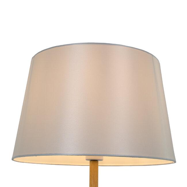 ASHLEY 00828 Μοντέρνο Φωτιστικό Δαπέδου Μονόφωτο Μεταλλικό Λευκό με Καπέλο και Ξύλινη Λεπτομέρεια Φ40 x Υ148cm - 4