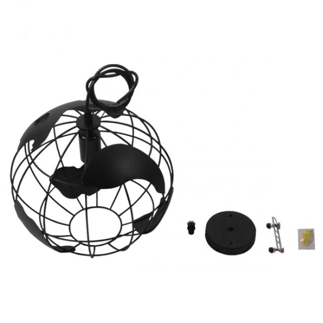 Vintage Industrial Κρεμαστό Φωτιστικό Οροφής Μονόφωτο Μαύρο Μεταλλικό Πλέγμα Φ30  WORLD 01205 - 9