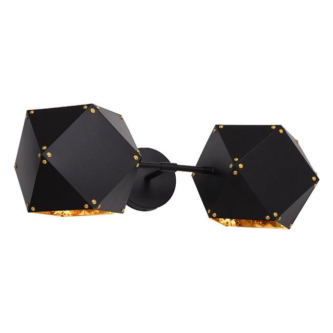 WELLES Replica 00795 Μοντέρνο Φωτιστικό Τοίχου Απλίκα Δίφωτο Μεταλλικό Μαύρο Χρυσό Μ52 x Π21 x Υ17cm - 4