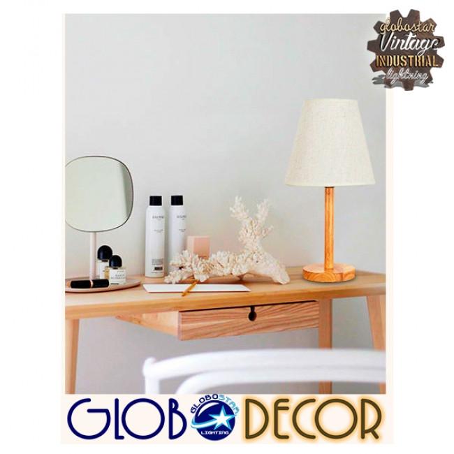 Μοντέρνο Επιτραπέζιο Φωτιστικό Πορτατίφ Μονόφωτο Ξύλινο με Λευκό Καπέλο Φ21 GloboStar NAPHIE 01208 - 15