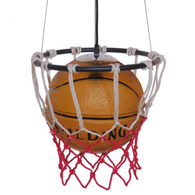 Μοντέρνο Κρεμαστό Φωτιστικό Οροφής Μονόφωτο Πορτοκαλί Μεταλλικό Πλέγμα Φ32 GloboStar NBA  01027 - 3
