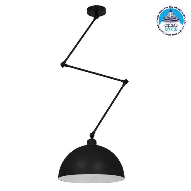 Μοντέρνο Φωτιστικό Οροφής Μονόφωτο Μαύρο Ματ Μεταλλικό Καμπάνα Ø30Y21cm GloboStar LOTUS BLACK 00939 - 1