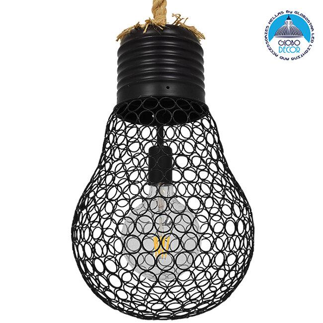Vintage Industrial Κρεμαστό Φωτιστικό Οροφής Μονόφωτο Μαύρο Μεταλλικό Πλέγμα με Μπεζ Σχοινί Φ28  URBAN BLACK 01522 - 1