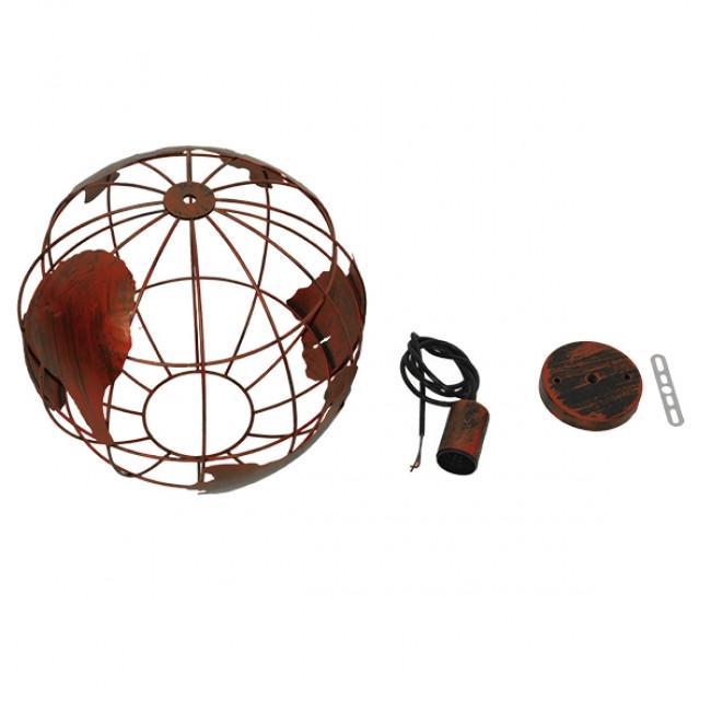 Vintage Industrial Κρεμαστό Φωτιστικό Οροφής Μονόφωτο Καφέ Σκουριά Μεταλλικό Πλέγμα Φ30 GloboStar EARTH RUST 30CM 01662 - 7