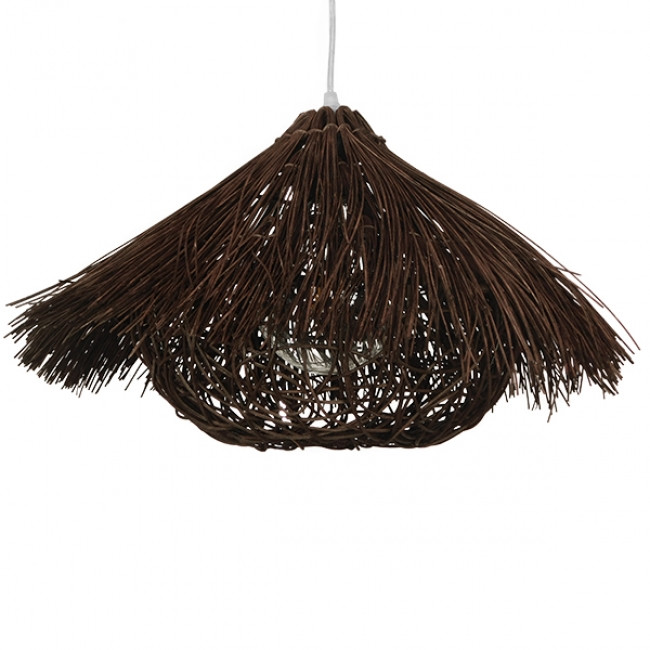 Vintage Κρεμαστό Φωτιστικό Οροφής Μονόφωτο Καφέ Σκούρο Ξύλινο Ψάθινο Rattan Φ50 GloboStar MAGIE 01600 - 3