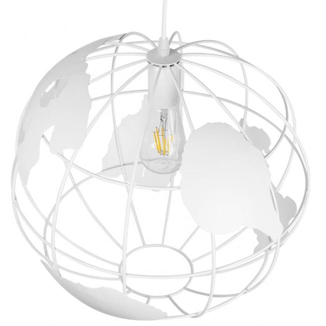 Vintage Industrial Κρεμαστό Φωτιστικό Οροφής Μονόφωτο Λευκό Μεταλλικό Πλέγμα Φ40 GloboStar EARTH WHITE 40CM 01664 - 4