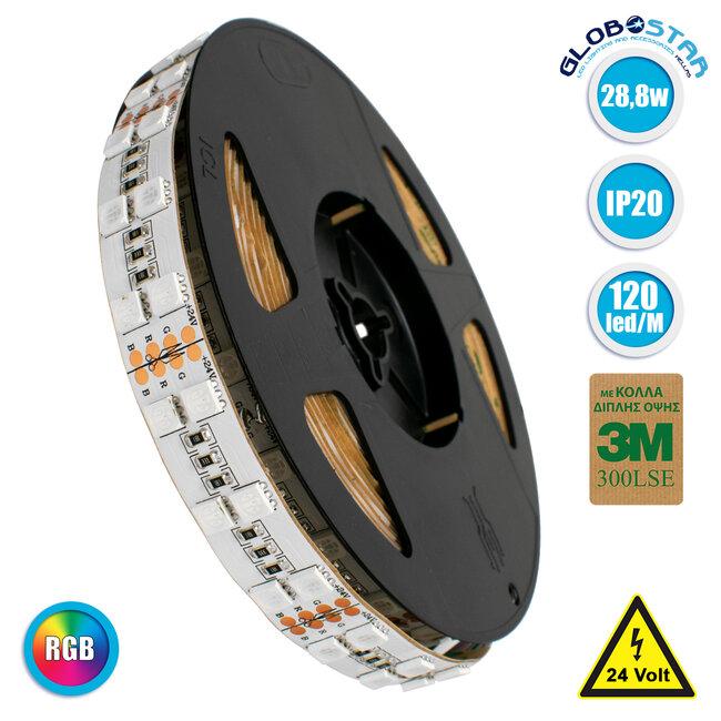 70279 Διπλή Ταινία LED SMD 5050 5m 28.8W/m 120LED/m 2908 lm/m 120° DC 24V IP20 RGB - 5 Χρόνια Εγγύηση