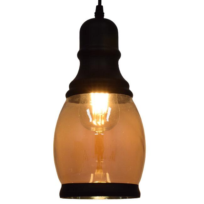 Vintage Κρεμαστό Φωτιστικό Οροφής Μονόφωτο Γυάλινο Μελί Διάφανο Φ14  JACK 01507 - 2