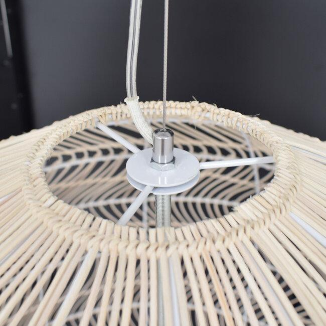 GloboStar® MALIBU 00965 Vintage Κρεμαστό Φωτιστικό Οροφής Μονόφωτο Μπεζ Ξύλινο Bamboo Φ97 x Y86cm - 6