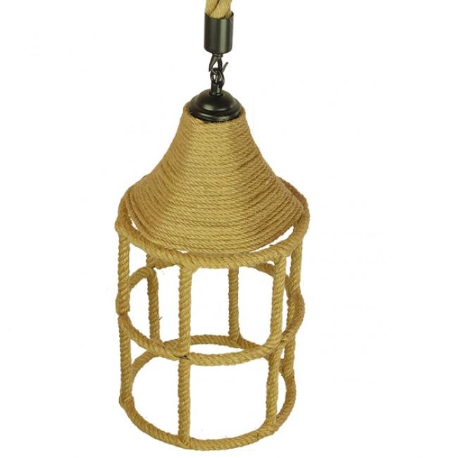 Vintage Κρεμαστό Φωτιστικό Οροφής Μονόφωτο Πλέγμα με Μπεζ Σχοινί Φ22 GloboStar YUBA 01612 - 5