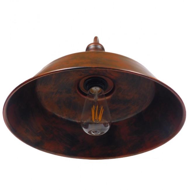 Vintage Industrial Φωτιστικό Τοίχου Απλίκα Μονόφωτο Καφέ Σκουριά Μεταλλικό Καμπάνα Φ36 GloboStar SORD IRON RUST 01052 - 6