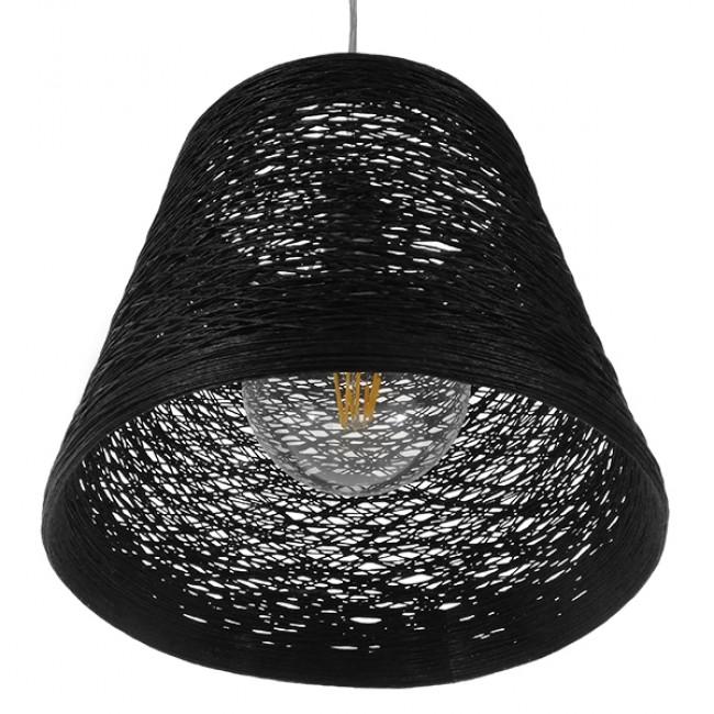 Vintage Κρεμαστό Φωτιστικό Οροφής Μονόφωτο Μαύρο Ξύλινο Ψάθινο Rattan Φ32 GloboStar ALMA 01563 - 5
