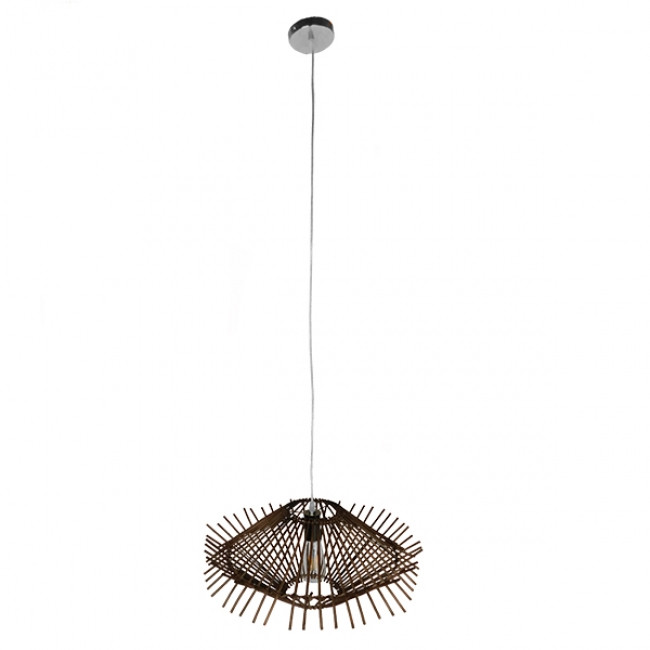 Vintage Κρεμαστό Φωτιστικό Οροφής Μονόφωτο Καφέ Σκούρο Ξύλινο Ψάθινο Rattan Φ50  MADDY 01602 - 2