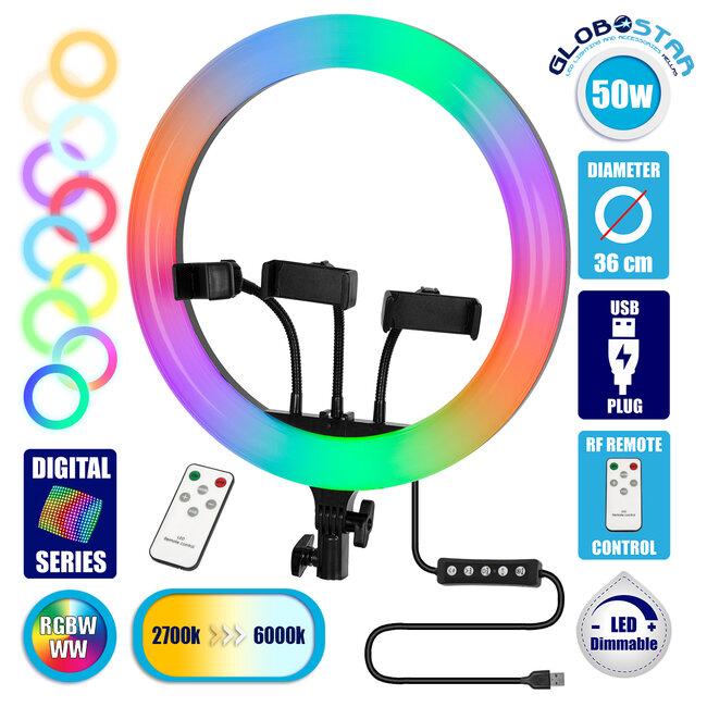 GloboStar® 75803 Professional Digital Ring Light Φ36cm LED SMD 50W 5000lm 180° DC 5V με Καλώδιο Τροφοδοσίας USB - Ενσωματωμένο και Ασύρματο Χειριστήριο RF 2.4Ghz Εναλλαγής Χρωμάτων & 3 Βάσεις Τηλεφώνο