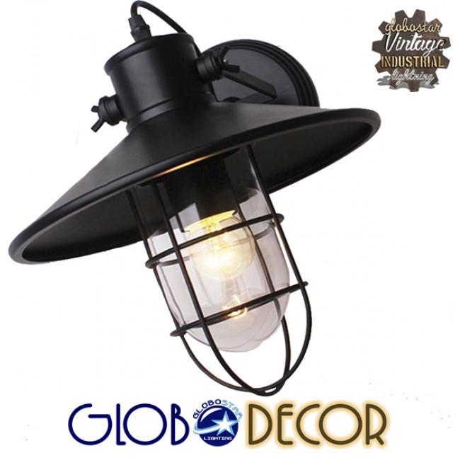 Vintage Industrial Φωτιστικό Τοίχου Απλίκα Μονόφωτο Μαύρο Μεταλλικό Πλέγμα με Καμπάνα Φ27 GloboStar CELL 01118 - 5