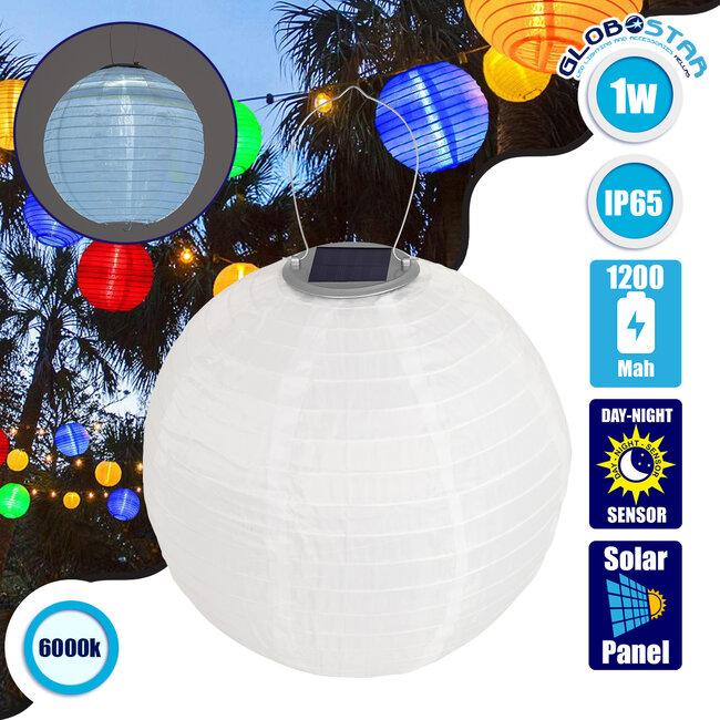 71591 Αυτόνομο Ηλιακό Φωτιστικό Υφασμάτινη Λευκή Μπάλα Φ30cm LED SMD 1W 100lm με Ενσωματωμένη Μπαταρία 1200mAh - Φωτοβολταϊκό Πάνελ με Αισθητήρα Ημέρας-Νύχτας Αδιάβροχο IP65 Ψυχρό Λευκό 6000K - 1
