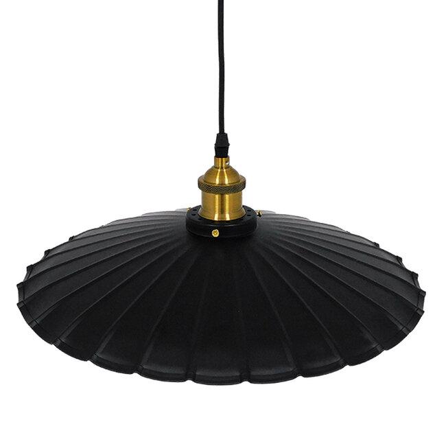 Vintage Industrial Κρεμαστό Φωτιστικό Οροφής Μονόφωτο Μαύρο Μεταλλικό Καμπάνα Ø40xY15cm GloboStar MARGI Ø40 00982 - 4