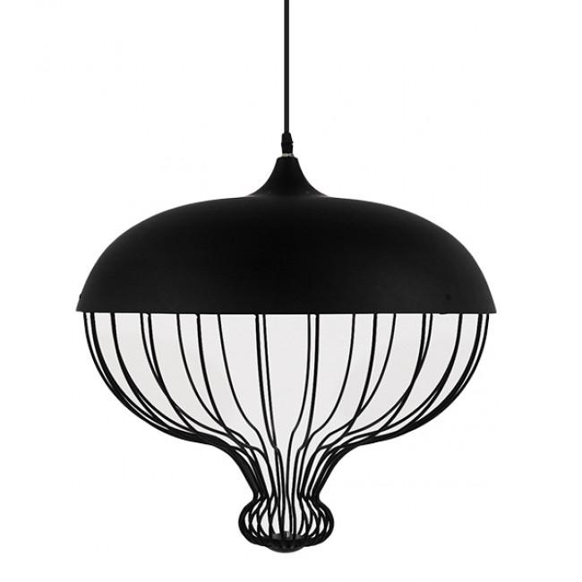 Vintage Κρεμαστό Φωτιστικό Οροφής Μονόφωτο Μαύρο Μεταλλικό Πλέγμα Φ46 GloboStar SOBRINO 01108 - 3