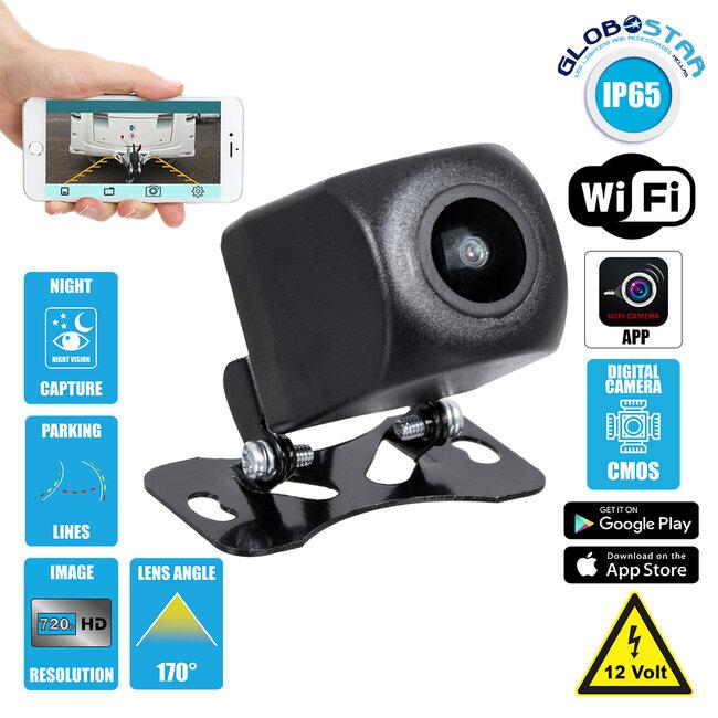 86023 WiFi Έγχρωμη Κάμερα 720p CMOS HD Οπισθοπορείας Αυτοκινήτου DC 12V 170° με Εφαρμογή APP Night Capture με Parking Lines Αδιάβροχη IP65