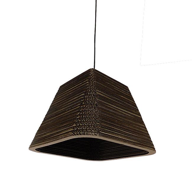 Vintage Κρεμαστό Φωτιστικό Οροφής Μονόφωτο 3D από Επεξεργασμένο Σκληρό Καφέ Χαρτόνι Καμπάνα Φ38  CORFU 01295 - 3