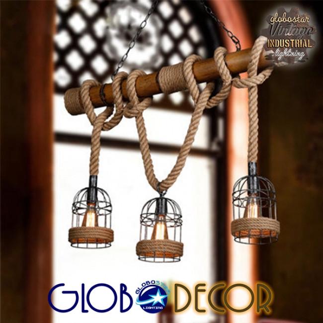 Vintage Κρεμαστό Φωτιστικό Οροφής Τρίφωτο Καφέ Ξύλινο Bamboo με Μπεζ Σχοινί GloboStar LILO 01149 - 7