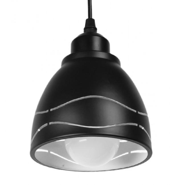 Μοντέρνο Κρεμαστό Φωτιστικό Οροφής Μονόφωτο Μεταλλικό Μαύρο Λευκό Καμπάνα Φ13  LAGUNA 01477 - 5