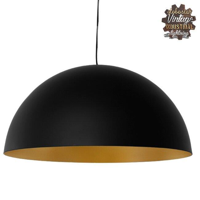Μοντέρνο Κρεμαστό Φωτιστικό Οροφής Μονόφωτο Μαύρο Χρυσό Μεταλλικό Καμπάνα Φ60  DIADEMA 01342 - 1