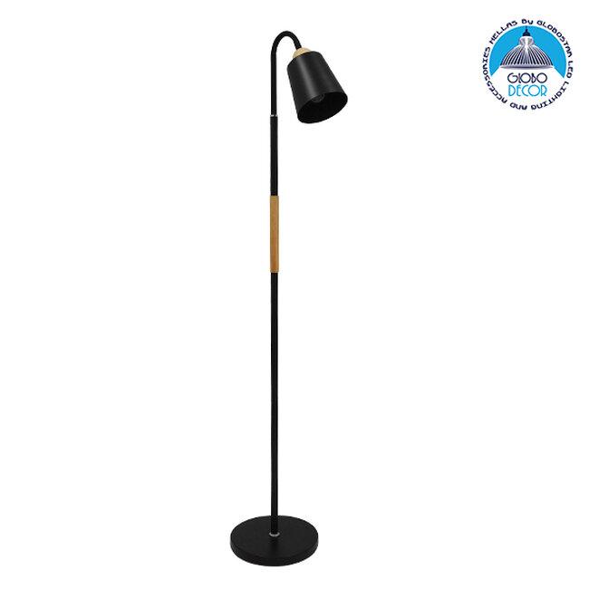 Μοντέρνο Φωτιστικό Δαπέδου Μονόφωτο Μεταλλικό Μαύρο με Ξύλινη Λεπτομέρεια Φ13 GloboStar RIBBON BLACK 01585 - 1