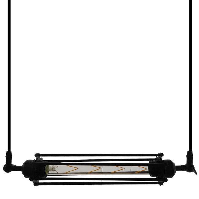 Vintage Industrial Κρεμαστό Φωτιστικό Οροφής Μαύρο Μεταλλικό με Γυαλί  TUBE 01085 - 3