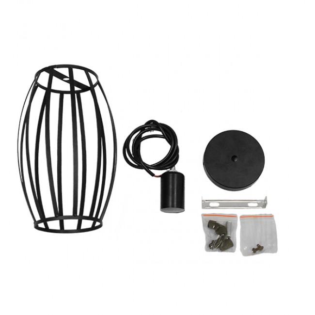 Vintage Industrial Κρεμαστό Φωτιστικό Οροφής Μονόφωτο Μαύρο Μεταλλικό Πλέγμα Φ14  ZEBRA 01062 - 8