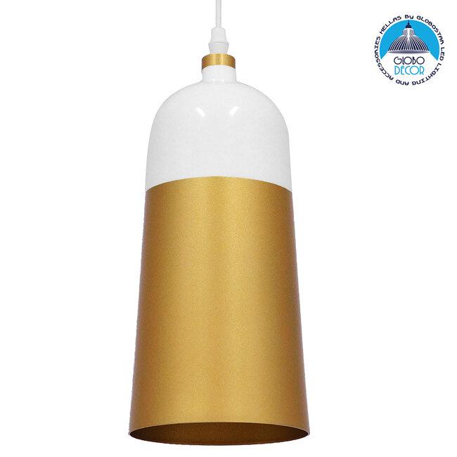Μοντέρνο Κρεμαστό Φωτιστικό Οροφής Μονόφωτο Λευκό - Χρυσό Μεταλλικό Καμπάνα Φ14  PALAZZO GOLD WHITE 01524 - 1