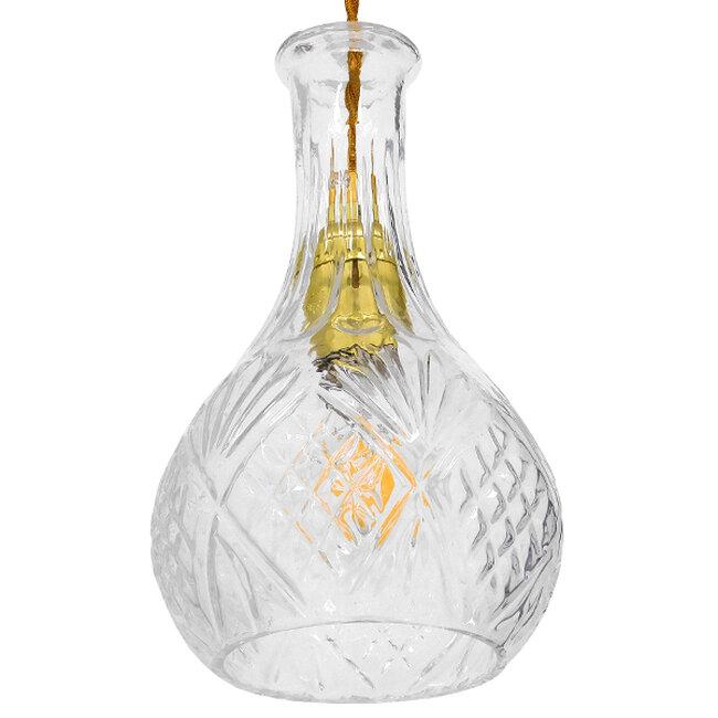 Vintage Κρεμαστό Φωτιστικό Οροφής Μονόφωτο Γυάλινο Διάφανο Φ14  RUM 01514 - 6