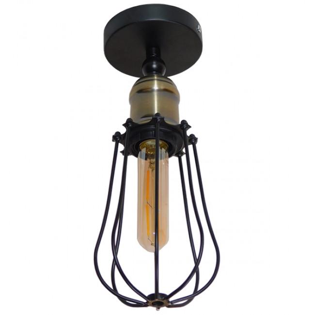 Vintage Industrial Φωτιστικό Τοίχου Απλίκα Μονόφωτο Μαύρο Μεταλλικό Πλέγμα Φ12  AVOCANDO 01056 - 7