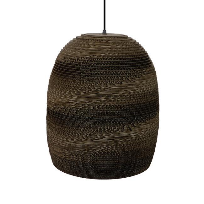 Vintage Κρεμαστό Φωτιστικό Οροφής Μονόφωτο 3D από Επεξεργασμένο Σκληρό Καφέ Χαρτόνι Καμπάνα Φ35  SKIATHOS 01296 - 6