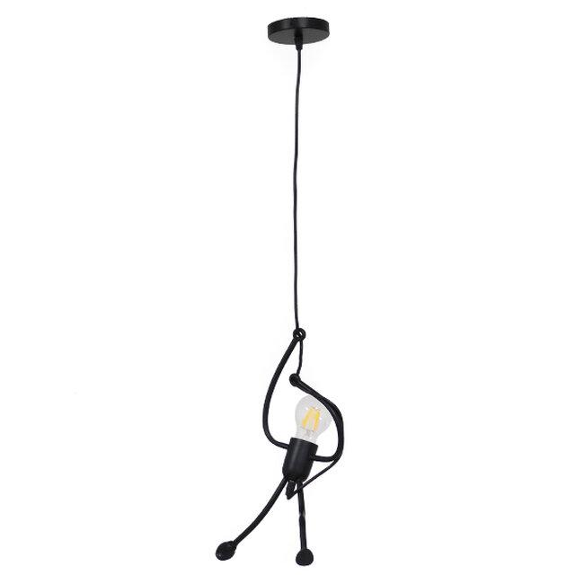 Μοντέρνο Κρεμαστό Φωτιστικό Οροφής Μονόφωτο Μαύρο Μεταλλικό Φ20  LITTLE MAN BLACK 01652 - 2