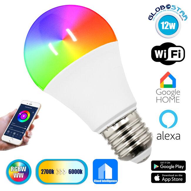 76070 Λάμπα E27 A60 Γλόμπος Smart Home WiFi LED RGB+CCT 12W 960 lm 260° AC 85-265V Πολύχρωμη RGBW+WW Ψυχρό Λευκό 6000K + Φυσικό Λευκό 4500K + Θερμό Λευκό 3000K Dimmable - 1
