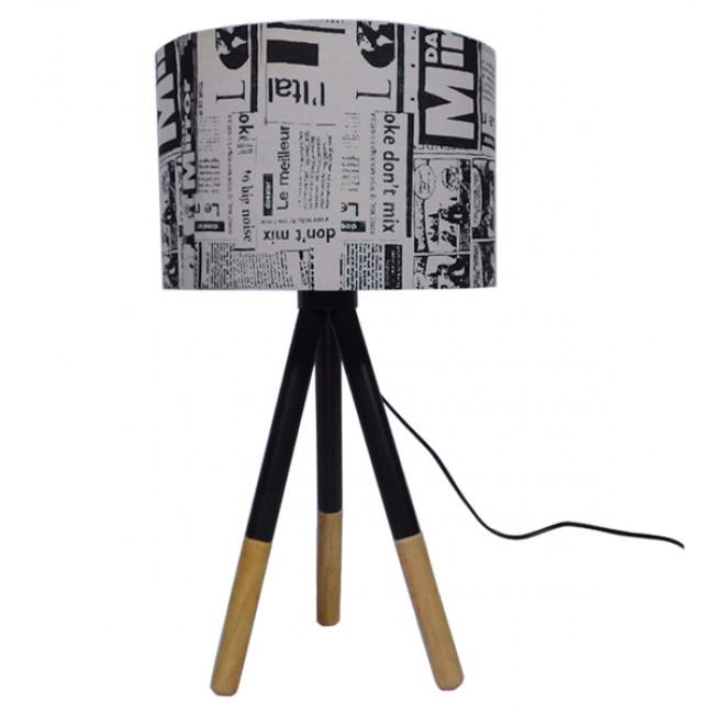 Μοντέρνο Επιτραπέζιο Φωτιστικό Πορτατίφ Μονόφωτο Ξύλινο με Άσπρο Μπεζ Καμβά Καπέλο Φ30 GloboStar MAGAZINE 01230 - 2